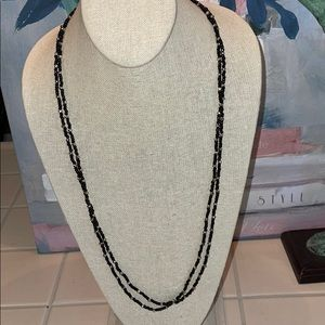 Cookie Lee Black Silver Bead Wrap Necklace